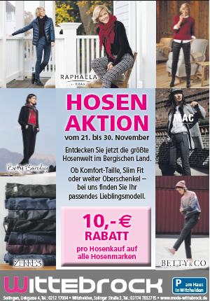 10 € Rabatt auf alle Hosenmarken bei Mode Wittebrock